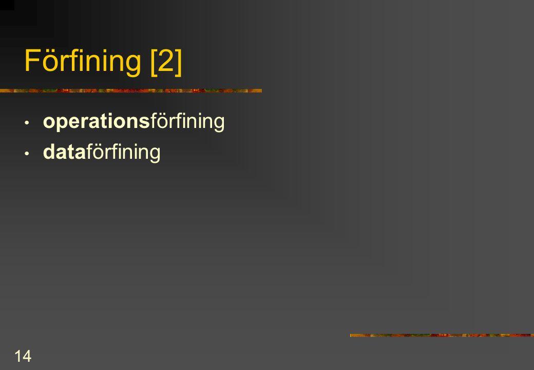 14 Förfining [2] operationsförfining dataförfining