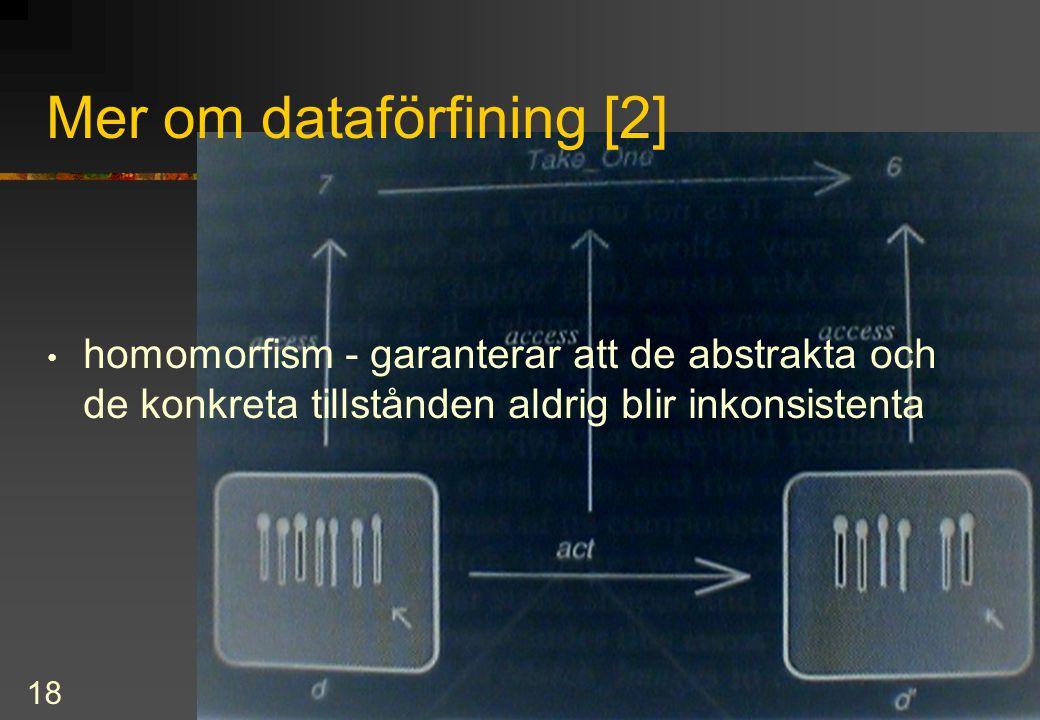 18 Mer om dataförfining [2] homomorfism - garanterar att de abstrakta och de konkreta tillstånden aldrig blir inkonsistenta
