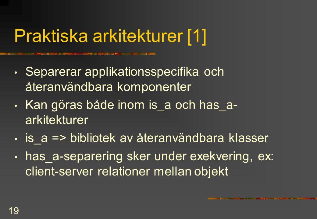 19 Praktiska arkitekturer [1] Separerar applikationsspecifika och återanvändbara komponenter Kan göras både inom is_a och has_a- arkitekturer is_a => bibliotek av återanvändbara klasser has_a-separering sker under exekvering, ex: client-server relationer mellan objekt