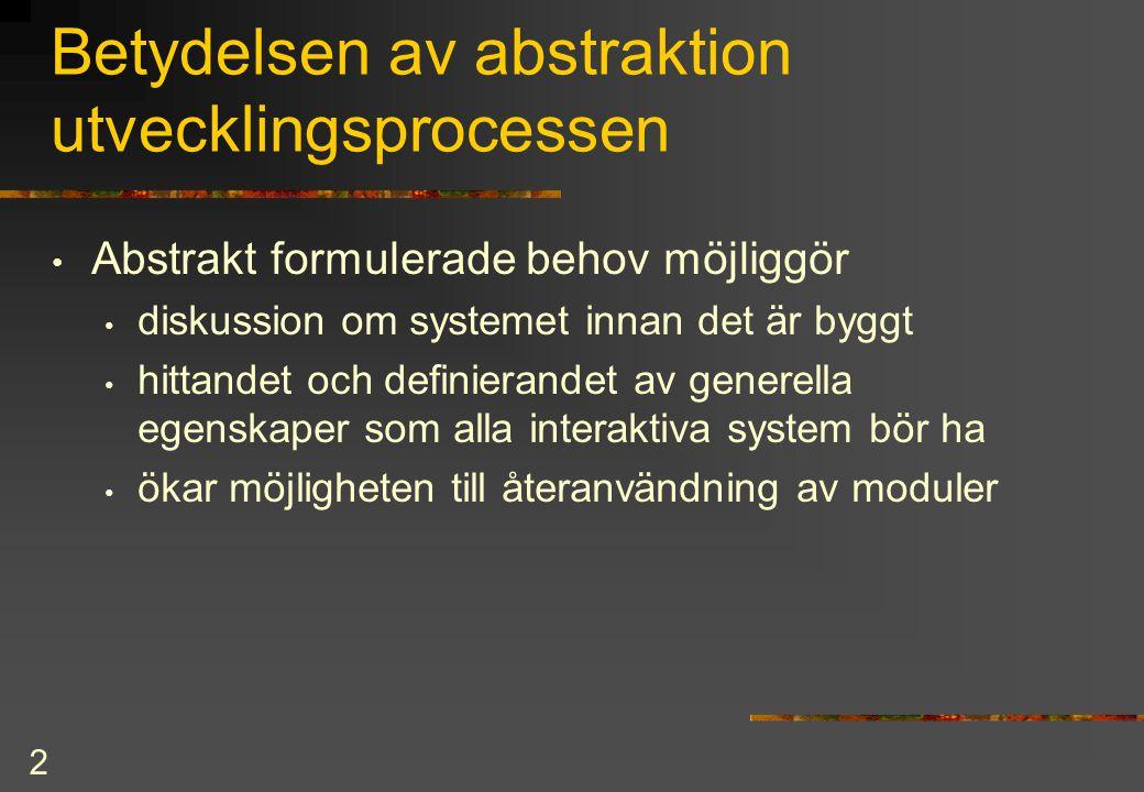 2 Betydelsen av abstraktion utvecklingsprocessen Abstrakt formulerade behov möjliggör diskussion om systemet innan det är byggt hittandet och definierandet av generella egenskaper som alla interaktiva system bör ha ökar möjligheten till återanvändning av moduler