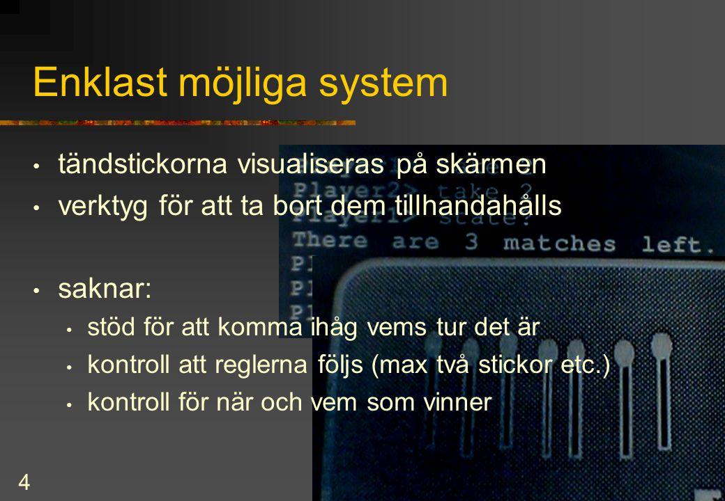 5 Generella egenskaper hos interaktiva system system-tillstånd operationer restriktioner funktioner som måste evalueras presentation av systemets tillstånd (och via denna invänta ny input (gäller bara DM))