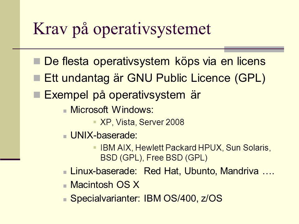 Krav på operativsystemet De flesta operativsystem köps via en licens Ett undantag är GNU Public Licence (GPL) Exempel på operativsystem är Microsoft Windows:  XP, Vista, Server 2008 UNIX-baserade:  IBM AIX, Hewlett Packard HPUX, Sun Solaris, BSD (GPL), Free BSD (GPL) Linux-baserade: Red Hat, Ubunto, Mandriva ….