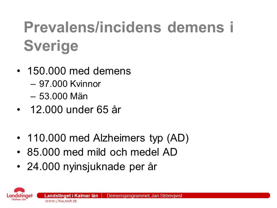 WWW.LTKALMAR.SE Landstinget i Kalmar län Demensprogrammet, Jan Strömqvist 2004-09-271 Kostnaden för demensvården i Sverige kostar 40 Miljarder SEK per år (5B USD) = kostnaden för Stroke,cancer och hjärtkärlsjukdomar Demensläkemedel 0.9%