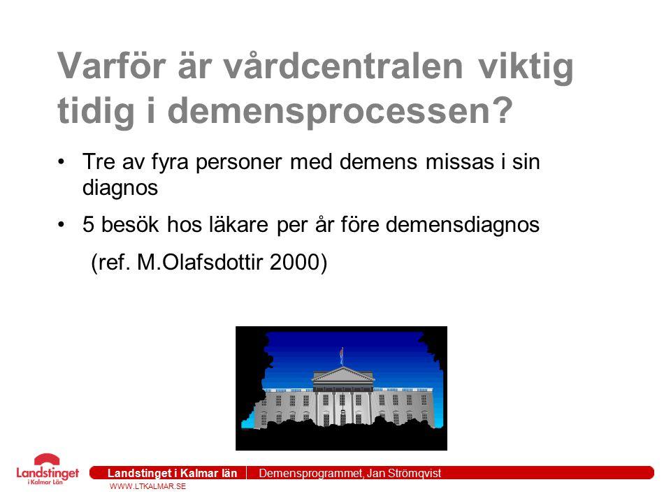 WWW.LTKALMAR.SE Landstinget i Kalmar län Demensprogrammet, Jan Strömqvist 2004-09-271 Varför är vårdcentralen viktig tidig i demensprocessen? Tre av f