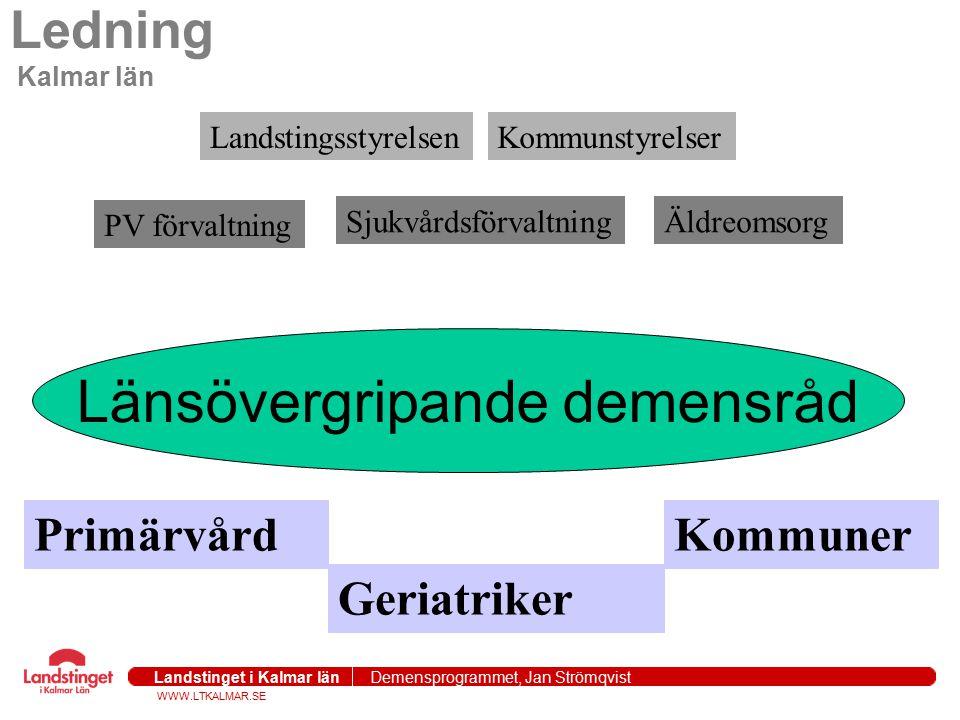 WWW.LTKALMAR.SE Landstinget i Kalmar län Demensprogrammet, Jan Strömqvist 2004-09-271 Ledning Kalmar län Länsövergripande demensråd PrimärvårdKommuner