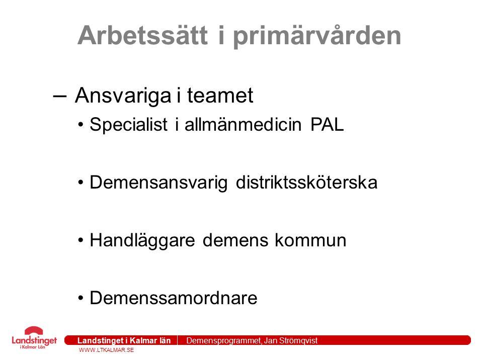 WWW.LTKALMAR.SE Landstinget i Kalmar län Demensprogrammet, Jan Strömqvist 2004-09-271 Erfarenheter Identifierar patienten tidigare i sjukdomen MMSE 19 (1999), till 25 (2005) Bor längre hemma Anhöriga blir en partner i vårdprocessen Få akutfall (inget fredagskaos) Tydlig arbetsfördelning Betydligt mindre av BPSD Framförhållning i arbetet Bättre läkemedelanvändning för äldre 15% färre äldre som söker akuten Oförändrad besöksfrekvens på vårdcentraler