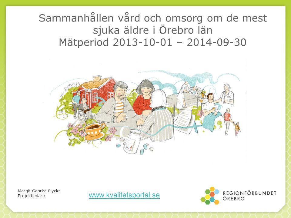 Sammanhållen vård och omsorg om de mest sjuka äldre i Örebro län Mätperiod 2013-10-01 – 2014-09-30 Margit Gehrke Flyckt Projektledare www.kvalitetsportal.se