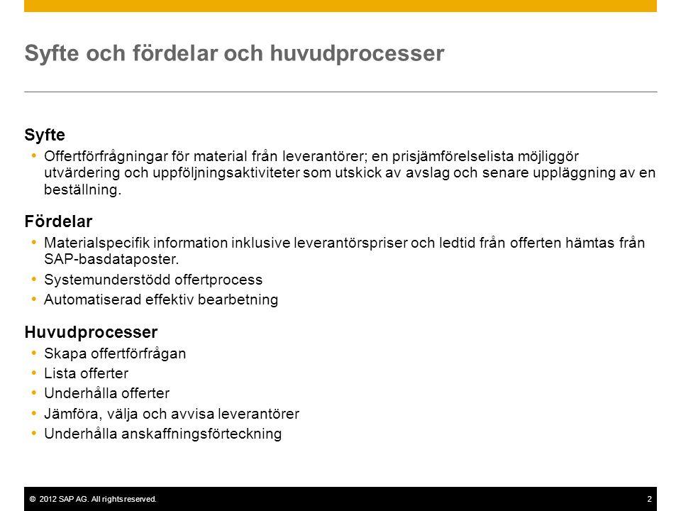 ©2012 SAP AG. All rights reserved.2 Syfte och fördelar och huvudprocesser Syfte  Offertförfrågningar för material från leverantörer; en prisjämförels