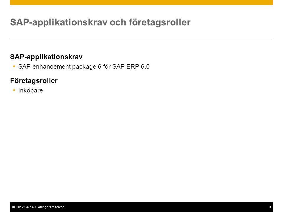 ©2012 SAP AG. All rights reserved.3 SAP-applikationskrav och företagsroller SAP-applikationskrav  SAP enhancement package 6 för SAP ERP 6.0 Företagsr