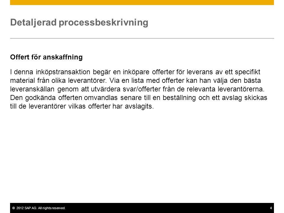 ©2012 SAP AG. All rights reserved.4 Detaljerad processbeskrivning Offert för anskaffning I denna inköpstransaktion begär en inköpare offerter för leve
