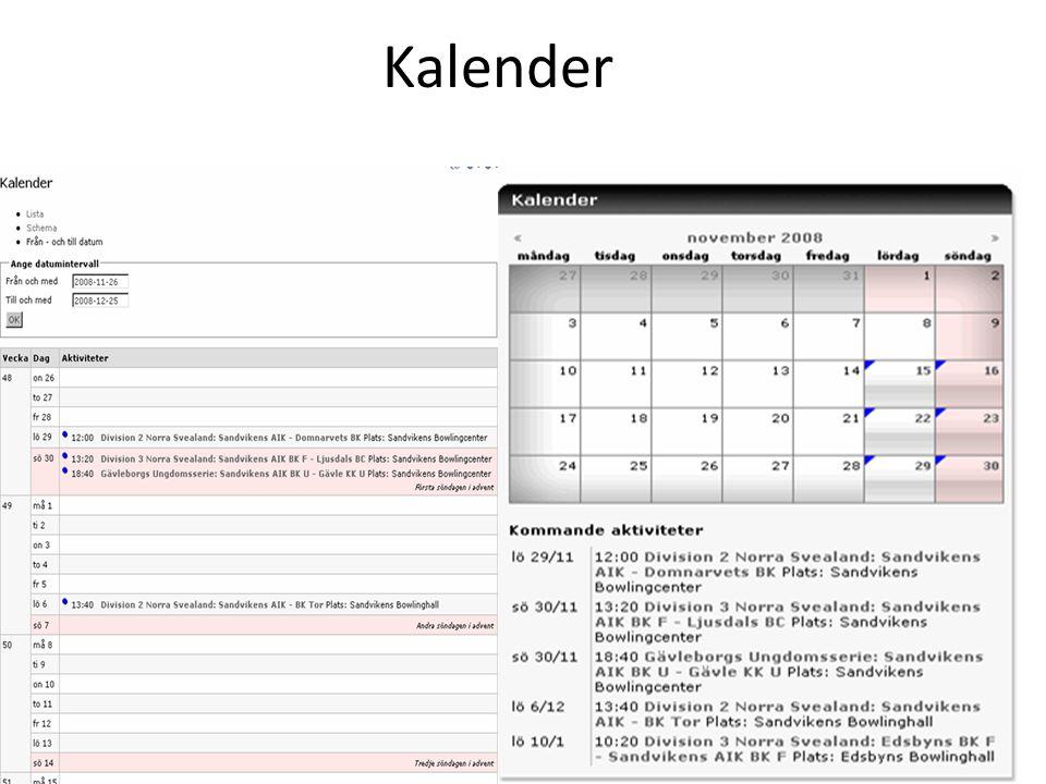 Genomgång av kalendern När vi är klara ska ni veta hur man: – Skapar en kalender – Lägger till aktiviteter (basinfo) + koppla person – Får matcher/tävlingar i en kalender – Tar bort och ändrar aktiviteter – Använder specialfunktioner- anmäla, dela ut aktiviteter, avgränsa möjlighet att se en aktivitet, kopierar en befintlig aktivitet, får ut en anmälningslista.