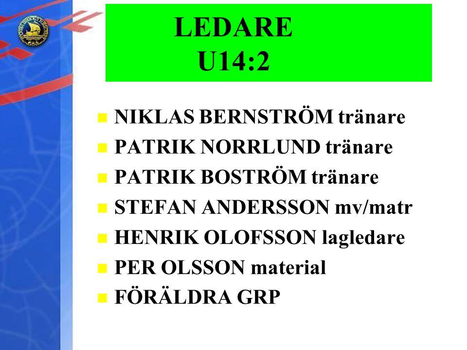 LEDARE U14:2 NIKLAS BERNSTRÖM tränare PATRIK NORRLUND tränare PATRIK BOSTRÖM tränare STEFAN ANDERSSON mv/matr HENRIK OLOFSSON lagledare PER OLSSON material FÖRÄLDRA GRP