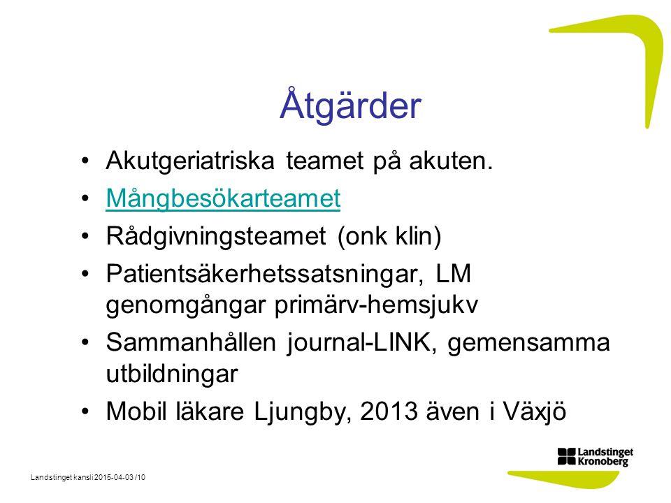 Landstinget kansli 2015-04-03 /10 Åtgärder Akutgeriatriska teamet på akuten.