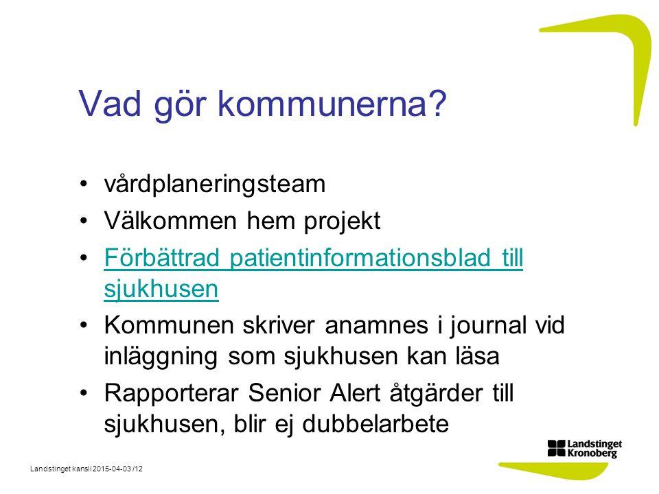 Landstinget kansli 2015-04-03 /12 Vad gör kommunerna.