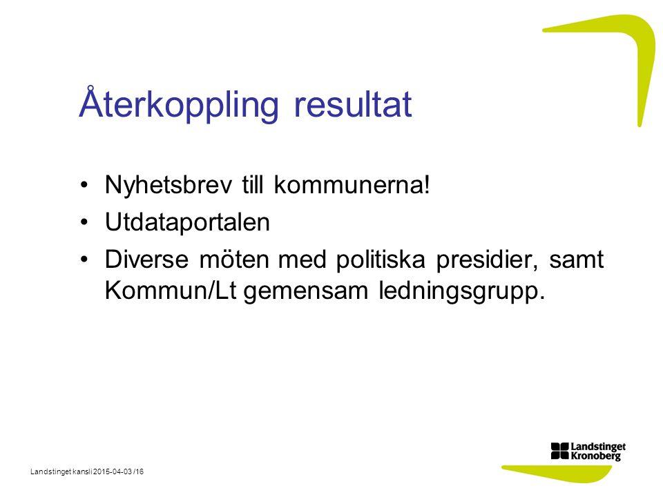 Landstinget kansli 2015-04-03 /16 Återkoppling resultat Nyhetsbrev till kommunerna.