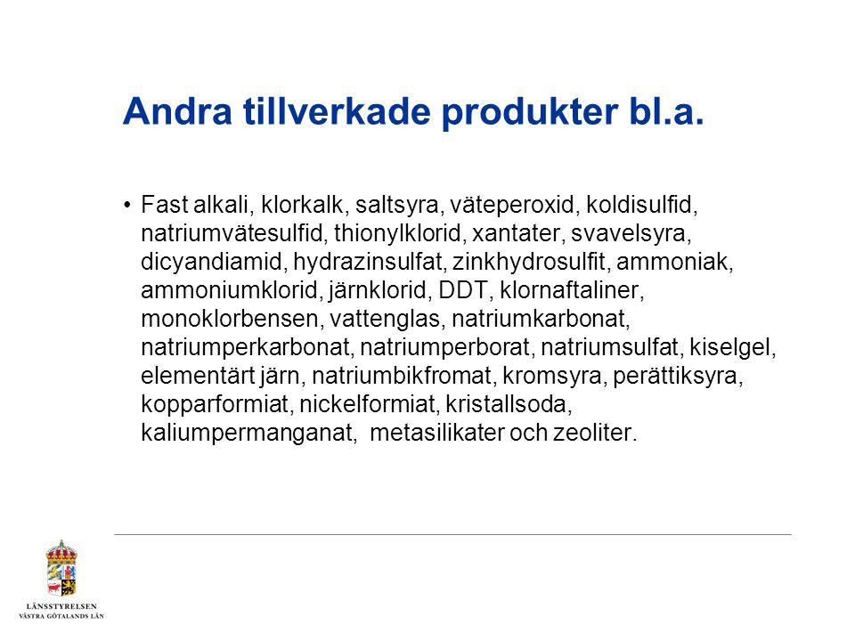 Andra tillverkade produkter bl.a. Fast alkali, klorkalk, saltsyra, väteperoxid, koldisulfid, natriumvätesulfid, thionylklorid, xantater, svavelsyra, d