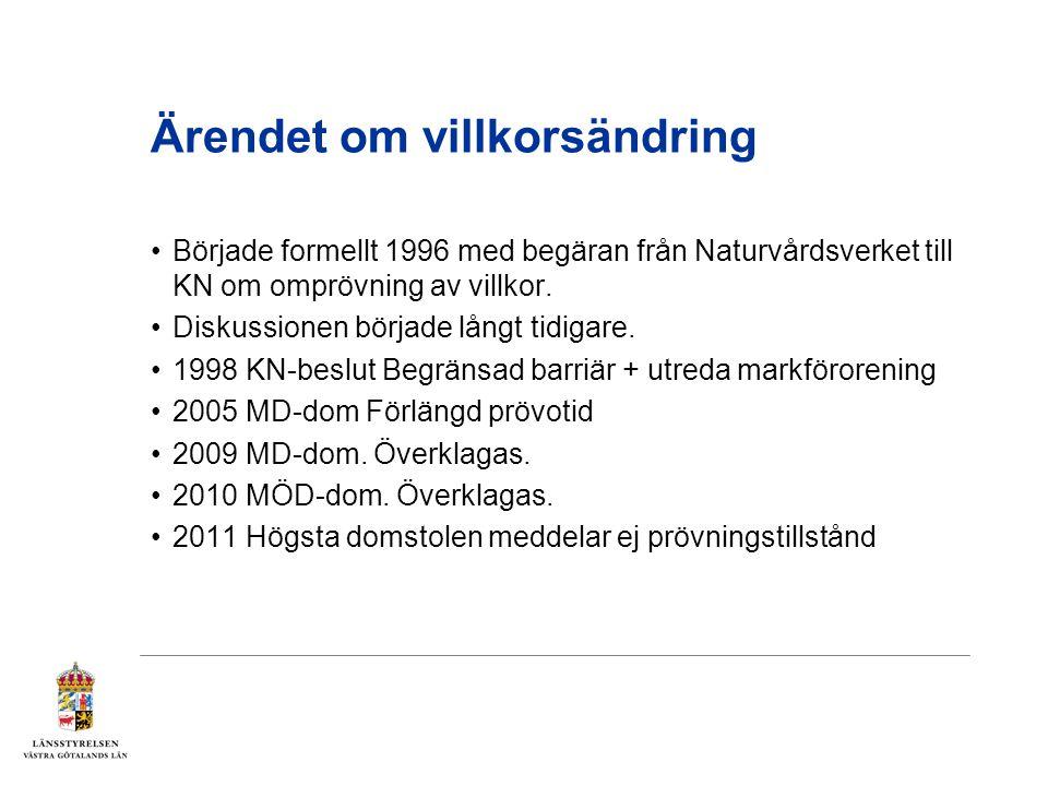 Ärendet om villkorsändring Började formellt 1996 med begäran från Naturvårdsverket till KN om omprövning av villkor.