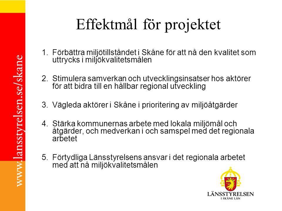 Effektmål för projektet 1.Förbättra miljötillståndet i Skåne för att nå den kvalitet som uttrycks i miljökvalitetsmålen 2.Stimulera samverkan och utvecklingsinsatser hos aktörer för att bidra till en hållbar regional utveckling 3.Vägleda aktörer i Skåne i prioritering av miljöåtgärder 4.Stärka kommunernas arbete med lokala miljömål och åtgärder, och medverkan i och samspel med det regionala arbetet 5.Förtydliga Länsstyrelsens ansvar i det regionala arbetet med att nå miljökvalitetsmålen
