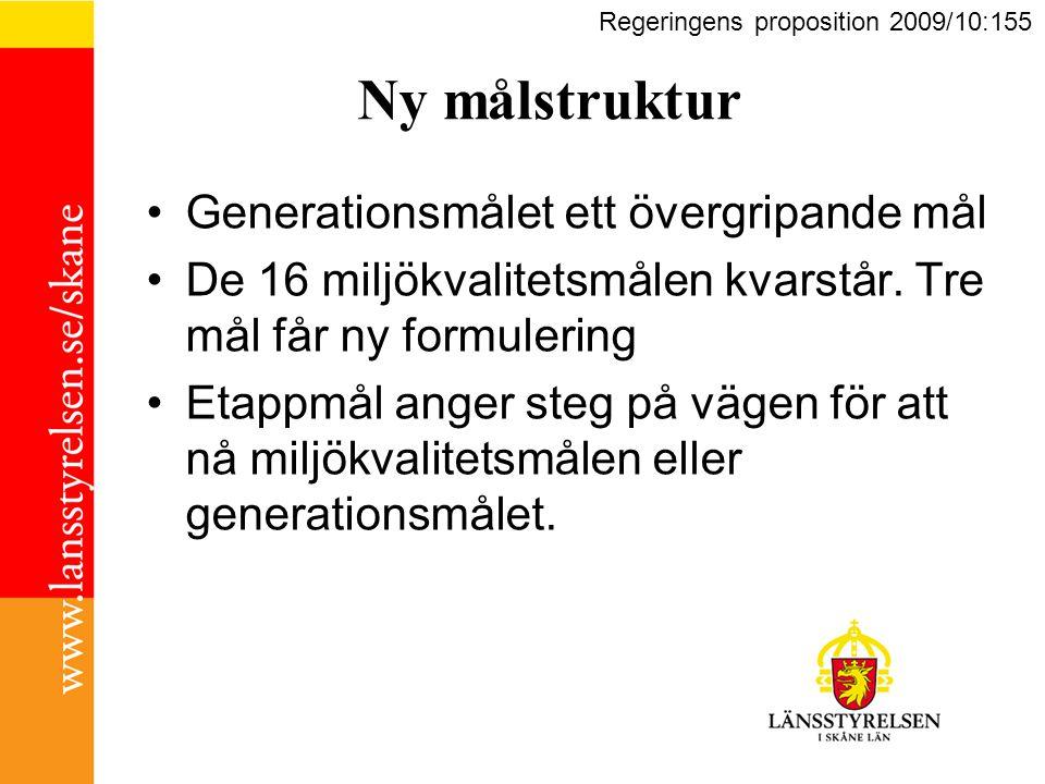Det övergripande målet för miljöpolitiken är att till nästa generation lämna över ett samhälle där de stora miljöproblemen i Sverige är lösta, utan att orsaka ökade miljö- och hälsoproblem utanför Sveriges gränser (generationsmålet).