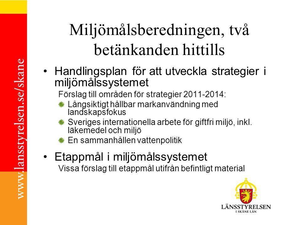 Miljömålsberedningen, två betänkanden hittills Handlingsplan för att utveckla strategier i miljömålssystemet Förslag till områden för strategier 2011-2014: Långsiktigt hållbar markanvändning med landskapsfokus Sveriges internationella arbete för giftfri miljö, inkl.