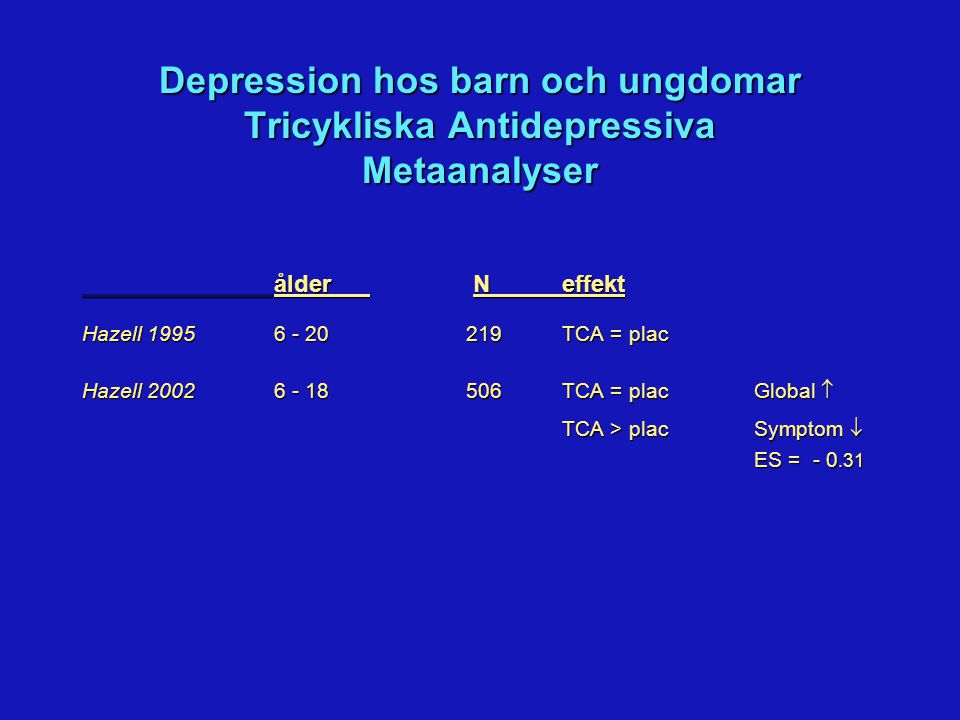 Depression hos Barn och Ungdomar SSRI Positiva Studier Responders Studie Aktiv (%) Placebo (%) Fluoxetin (Emslie 1997, 2002) 56* 33 Fluoxetin (TADS 2004) 61** 35 Citalopram (Wagner 2004) 36* 24 Sertralin (Wagner 2003) 69* 59