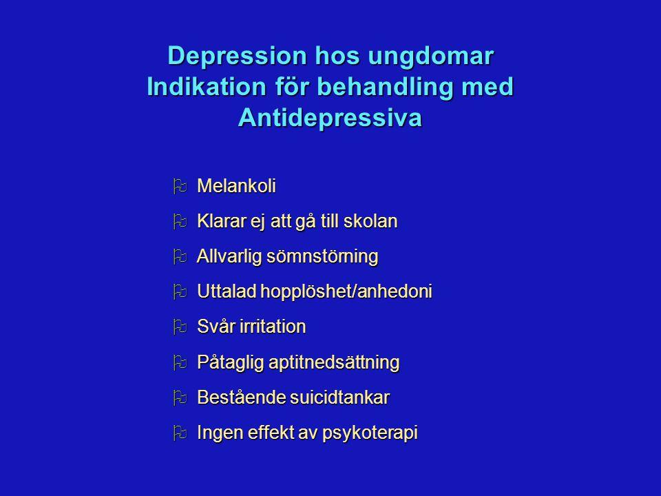 Depression hos ungdomar Indikation för behandling med Antidepressiva OMelankoli OKlarar ej att gå till skolan OAllvarlig sömnstörning OUttalad hopplöshet/anhedoni OSvår irritation OPåtaglig aptitnedsättning OBestående suicidtankar OIngen effekt av psykoterapi