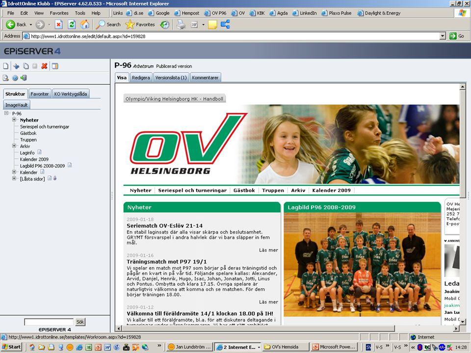 7 Jan Lundström OV's Hemsida Baskunskaper Logga in  Upprätta och redigera nyhet  Lägga till bilder/dokument  Upprätta och redigera kalenderaktivitet