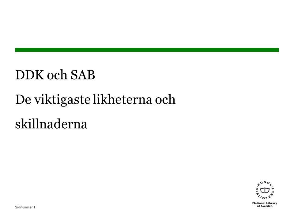 Sidnummer1 DDK och SAB De viktigaste likheterna och skillnaderna