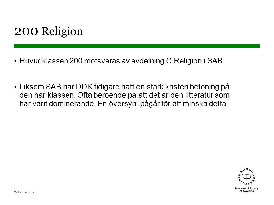 Sidnummer 17 200 Religion Huvudklassen 200 motsvaras av avdelning C Religion i SAB Liksom SAB har DDK tidigare haft en stark kristen betoning på den här klassen.