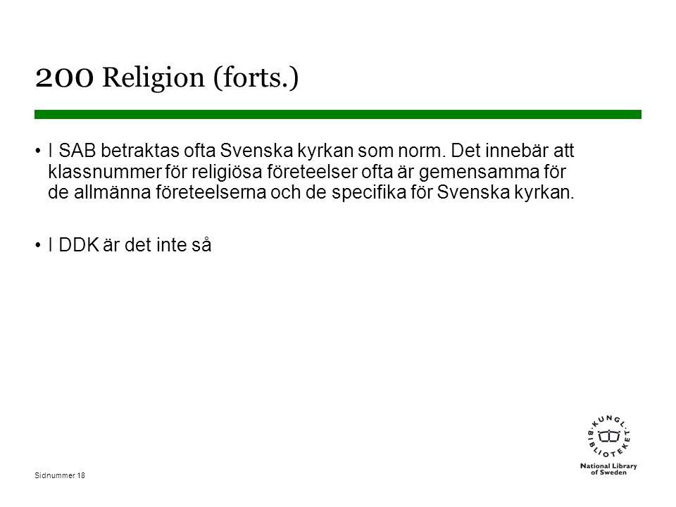 Sidnummer 18 200 Religion (forts.) I SAB betraktas ofta Svenska kyrkan som norm.