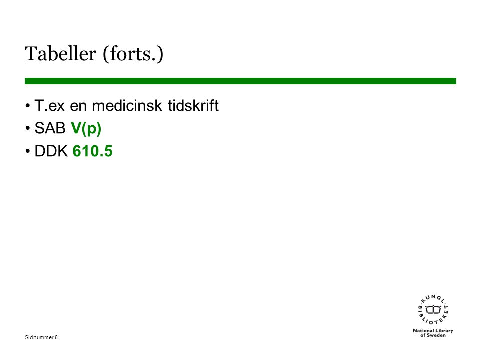 Sidnummer 8 Tabeller (forts.) T.ex en medicinsk tidskrift SAB V(p) DDK 610.5