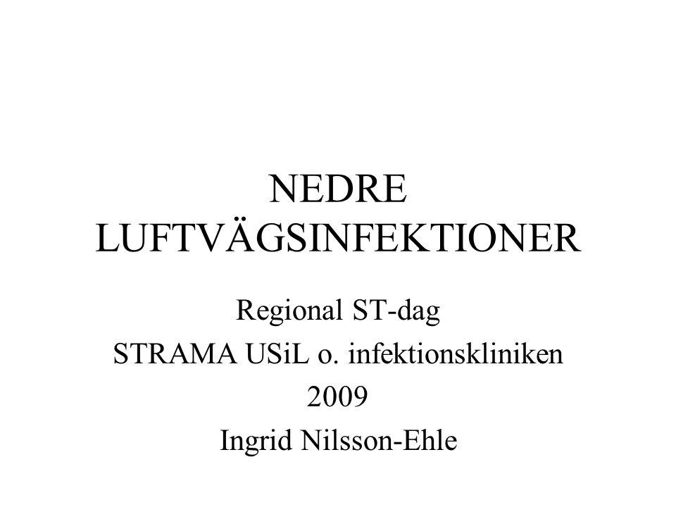 NEDRE LUFTVÄGSINFEKTIONER Regional ST-dag STRAMA USiL o. infektionskliniken 2009 Ingrid Nilsson-Ehle