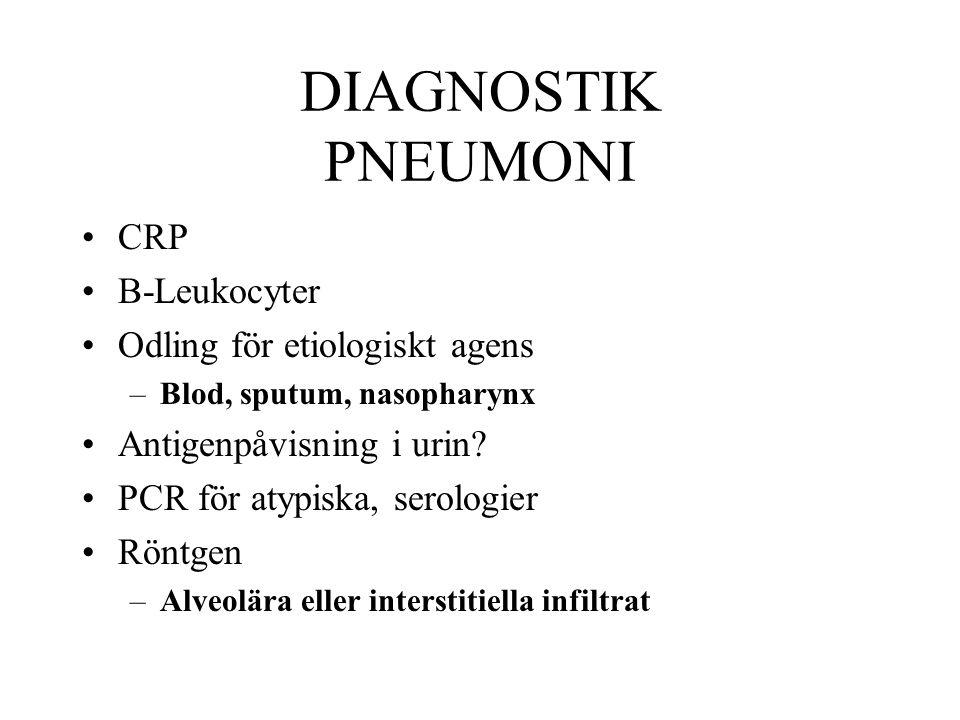 DIAGNOSTIK PNEUMONI CRP B-Leukocyter Odling för etiologiskt agens –Blod, sputum, nasopharynx Antigenpåvisning i urin.