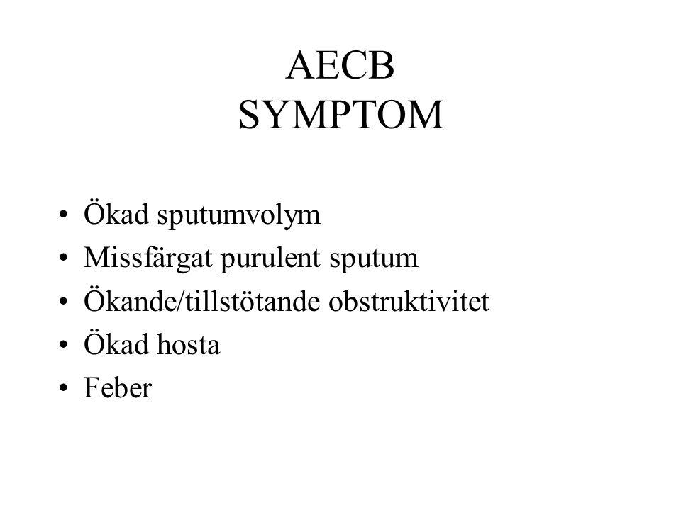 AECB SYMPTOM Ökad sputumvolym Missfärgat purulent sputum Ökande/tillstötande obstruktivitet Ökad hosta Feber