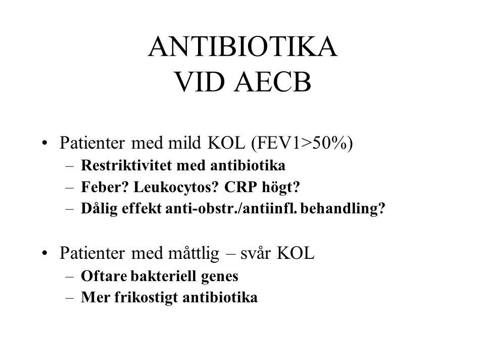 ANTIBIOTIKA VID AECB Patienter med mild KOL (FEV1>50%) –Restriktivitet med antibiotika –Feber? Leukocytos? CRP högt? –Dålig effekt anti-obstr./antiinf