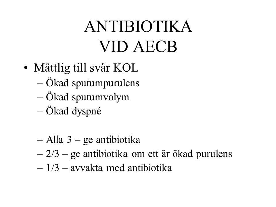 ANTIBIOTIKA VID AECB Måttlig till svår KOL –Ökad sputumpurulens –Ökad sputumvolym –Ökad dyspné –Alla 3 – ge antibiotika –2/3 – ge antibiotika om ett ä