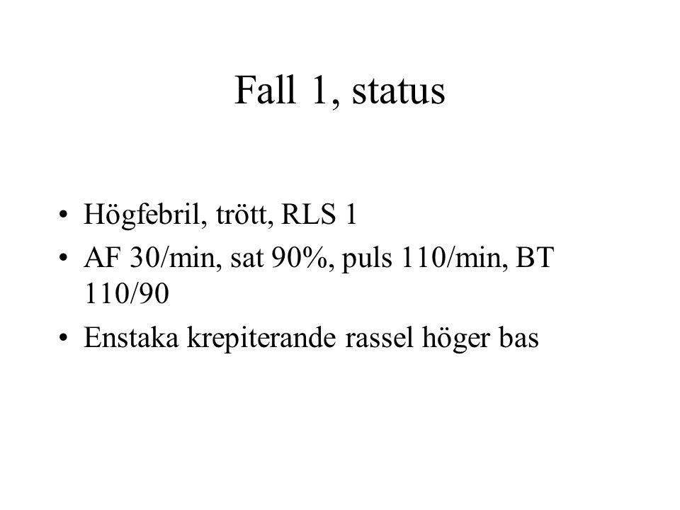 Fall 1, status Högfebril, trött, RLS 1 AF 30/min, sat 90%, puls 110/min, BT 110/90 Enstaka krepiterande rassel höger bas