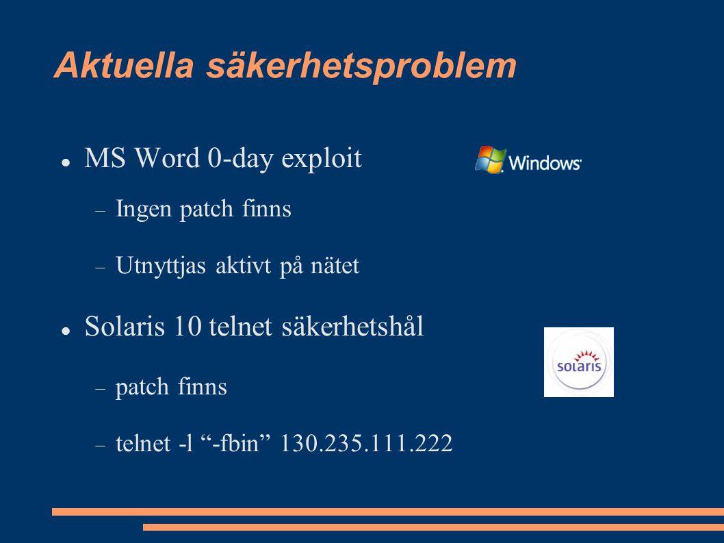Aktuella säkerhetsproblem MS Word 0-day exploit  Ingen patch finns  Utnyttjas aktivt på nätet Solaris 10 telnet säkerhetshål  patch finns  telnet -l -fbin 130.235.111.222