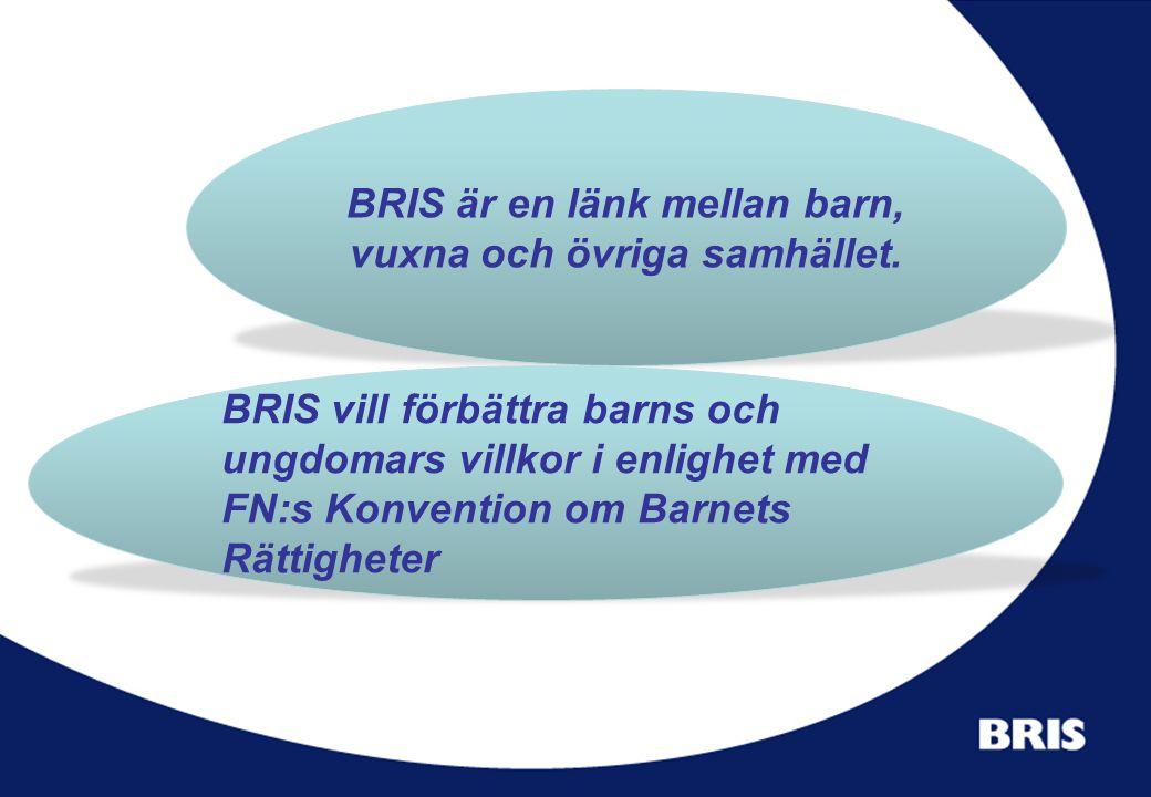 BRIS är en länk mellan barn, vuxna och övriga samhället. BRIS vill förbättra barns och ungdomars villkor i enlighet med FN:s Konvention om Barnets Rät