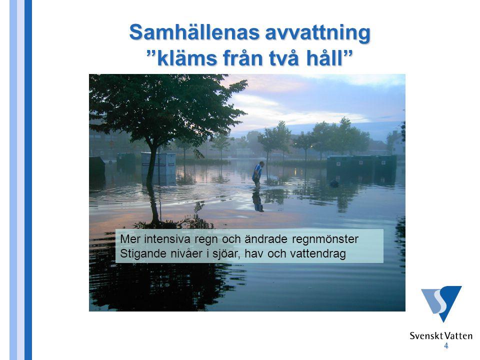 4 Samhällenas avvattning kläms från två håll Mer intensiva regn och ändrade regnmönster Stigande nivåer i sjöar, hav och vattendrag