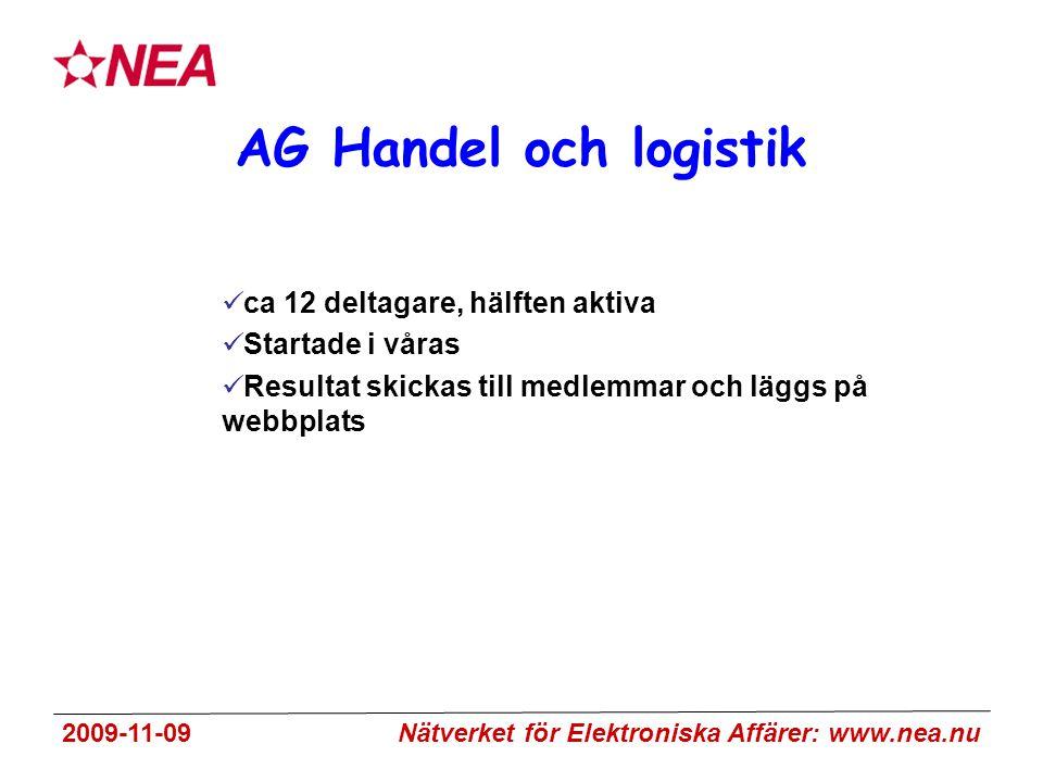 2009-11-09 Nätverket för Elektroniska Affärer: www.nea.nu AG Handel och logistik ca 12 deltagare, hälften aktiva Startade i våras Resultat skickas till medlemmar och läggs på webbplats