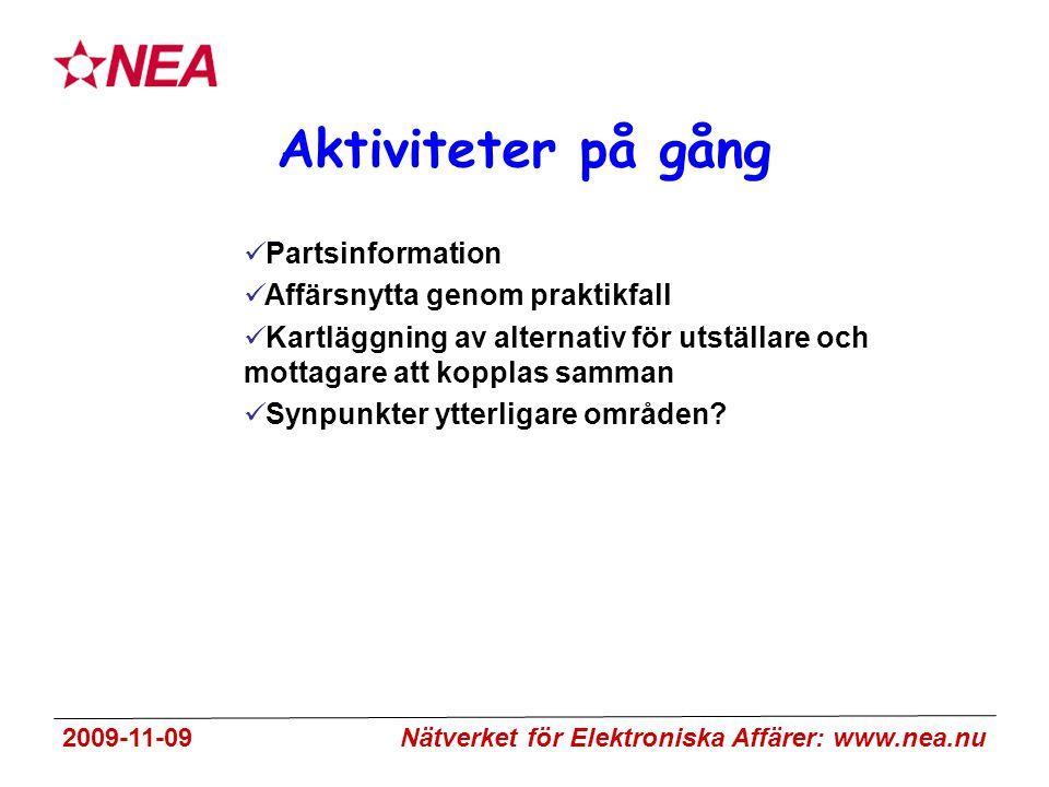2009-11-09 Nätverket för Elektroniska Affärer: www.nea.nu Aktiviteter på gång Partsinformation Affärsnytta genom praktikfall Kartläggning av alternativ för utställare och mottagare att kopplas samman Synpunkter ytterligare områden