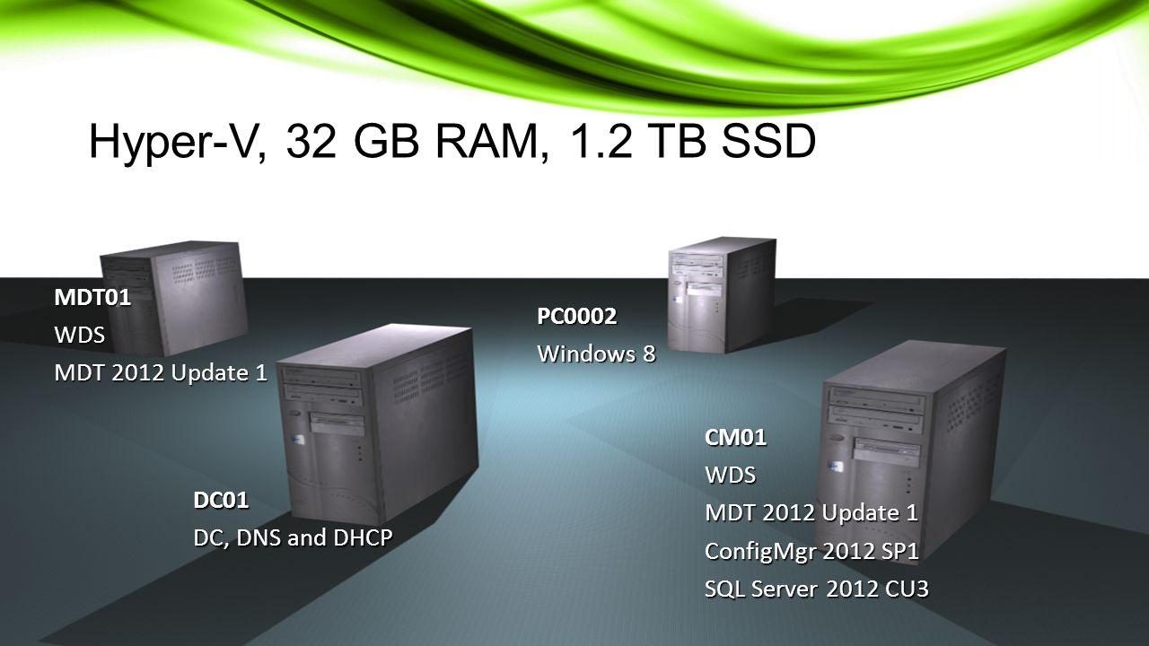 CM01WDS MDT 2012 Update 1 ConfigMgr 2012 SP1 SQL Server 2012 CU3 DC01 DC, DNS and DHCP MDT01WDS MDT 2012 Update 1 PC0002 Windows 8 Hyper-V, 32 GB RAM, 1.2 TB SSD