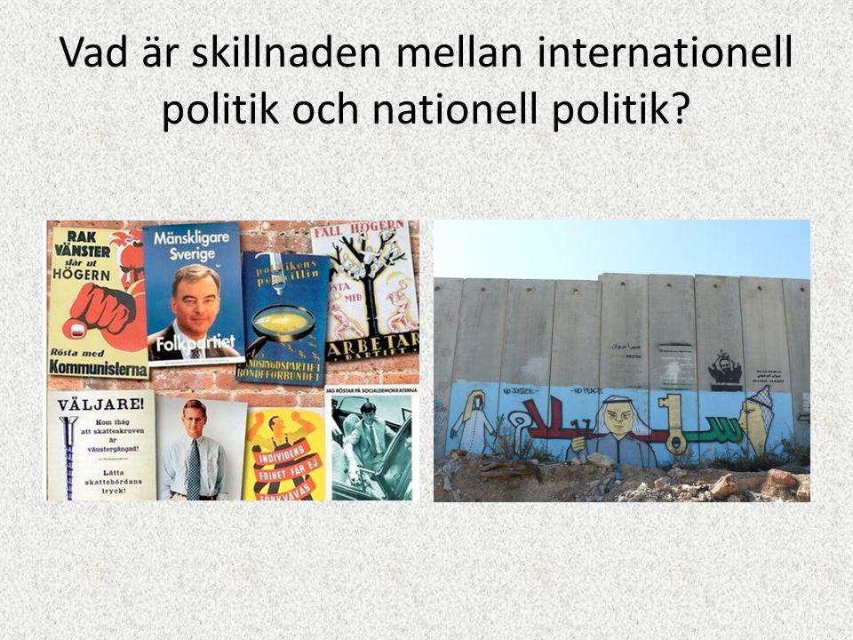 Vad är skillnaden mellan internationell politik och nationell politik?