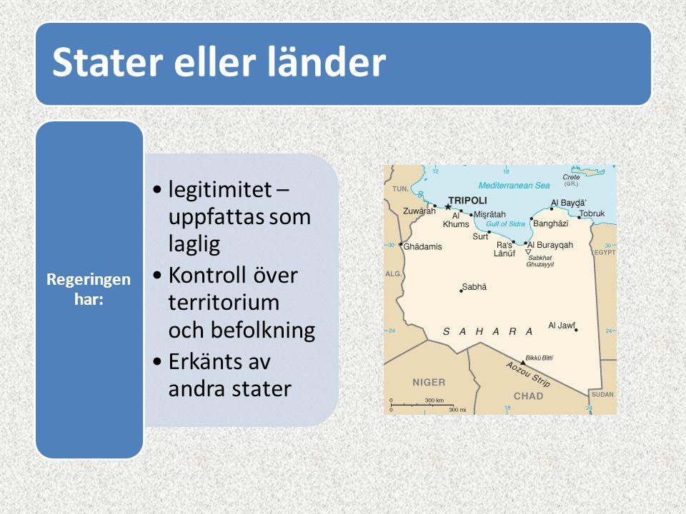 Stater eller länder legitimitet – uppfattas som laglig Kontroll över territorium och befolkning Erkänts av andra stater Regeringen har: