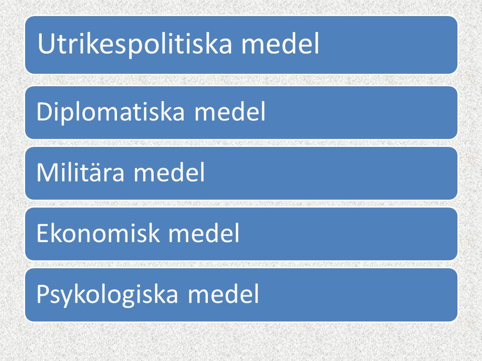Utrikespolitiska medel Diplomatiska medelMilitära medelEkonomisk medelPsykologiska medel