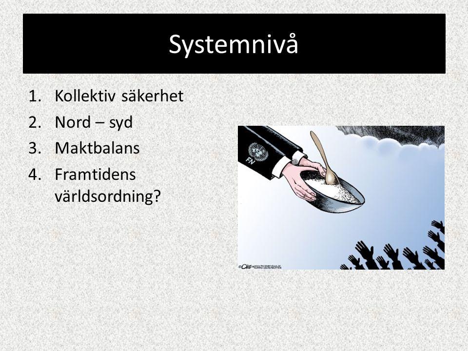 Systemnivå 1.Kollektiv säkerhet 2.Nord – syd 3.Maktbalans 4.Framtidens världsordning?