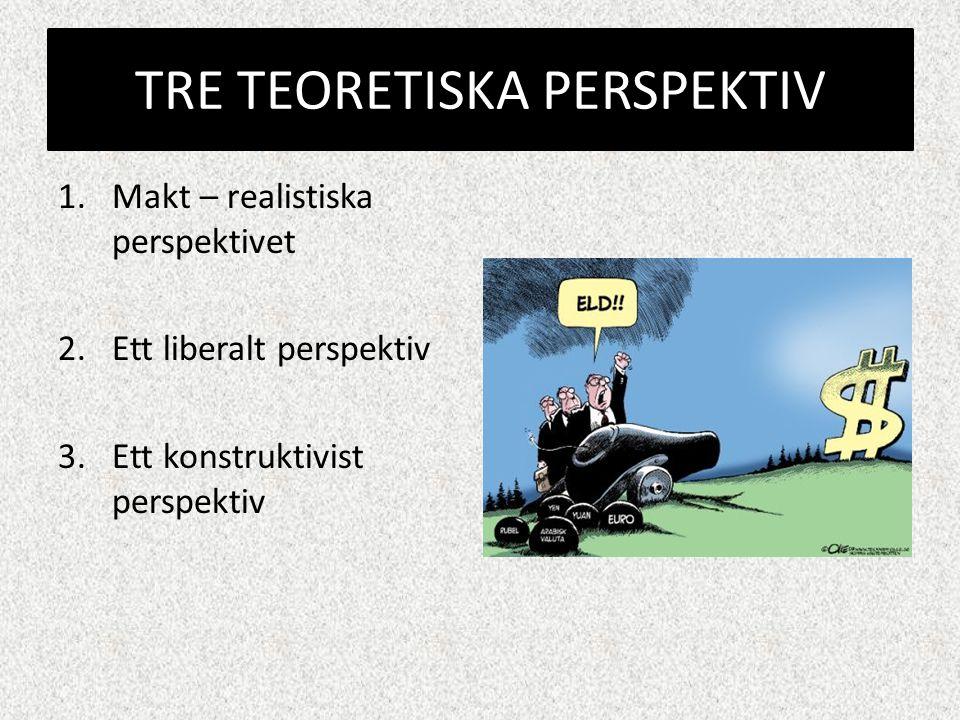 TRE TEORETISKA PERSPEKTIV 1.Makt – realistiska perspektivet 2.Ett liberalt perspektiv 3.Ett konstruktivist perspektiv