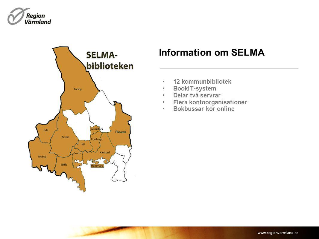 Information om SELMA 12 kommunbibliotek BookIT-system Delar två servrar Flera kontoorganisationer Bokbussar kör online Plats för eventuell bild