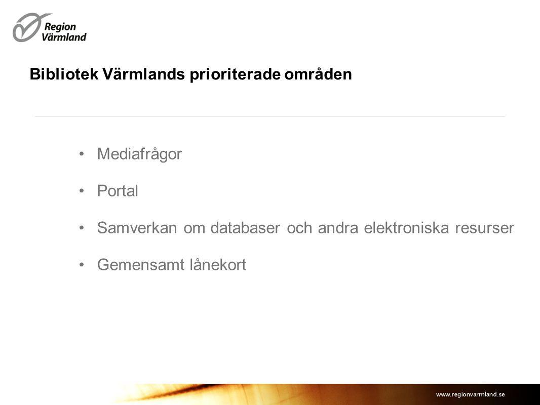 Bibliotek Värmlands prioriterade områden Mediafrågor Portal Samverkan om databaser och andra elektroniska resurser Gemensamt lånekort